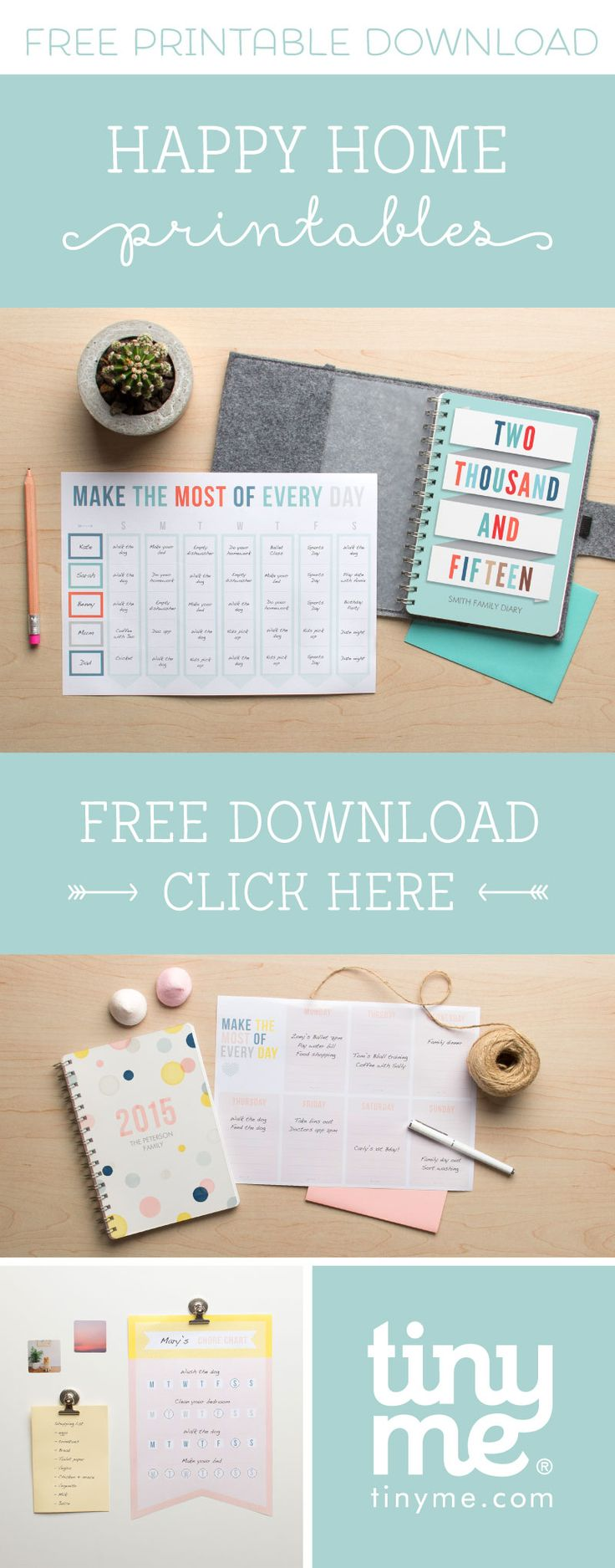 Get organised and make the most of every day with our Free Happy Home Printables | Tinyme blog