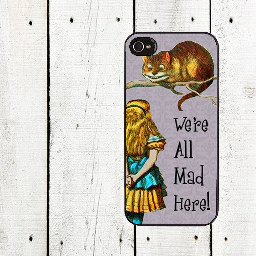 iPhone 4 case - Purple Alice and the Cheshire Cat iPhone Case - We're All Mad Here - iPhone 5 Case - Gifts Under 25 on Etsy, $16.00