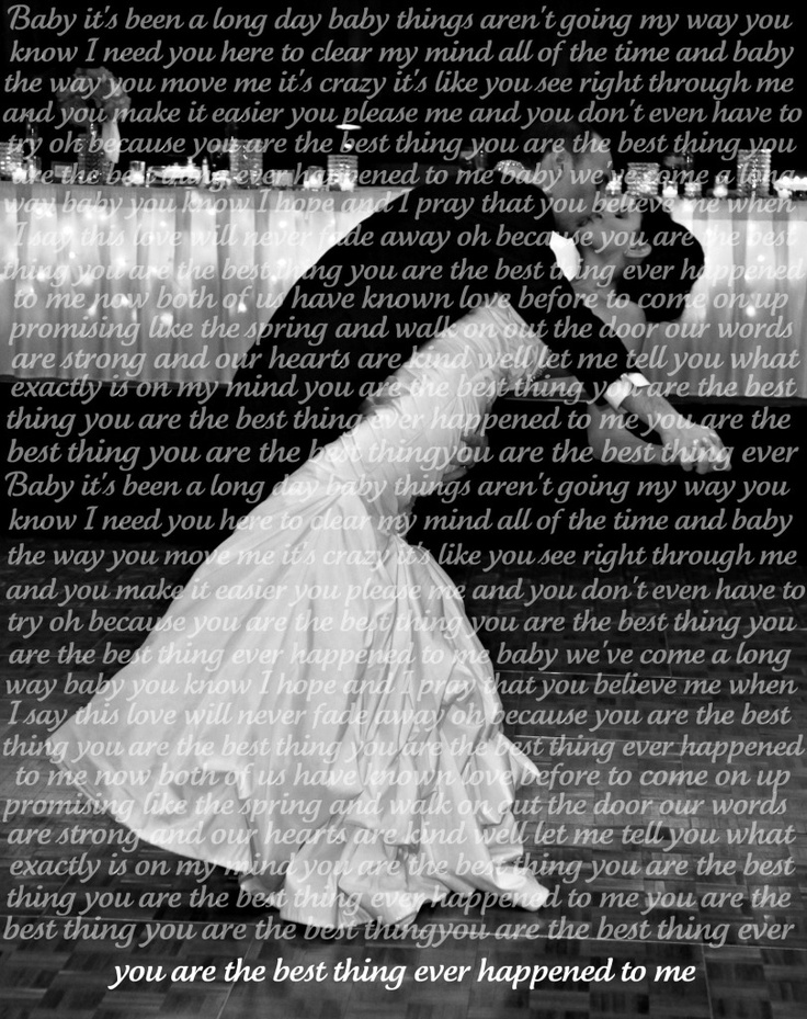 Lyrics to our first dance faded into our photo...now in a white 8x10 frame, but I don't have a pic!