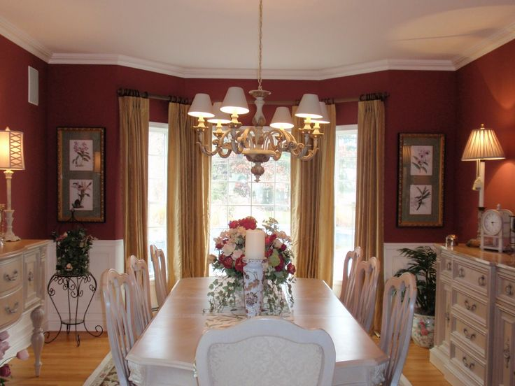 Dining Room Curtains Design Ideas Classic With Red Wall Cabinet Set White Table Bar Stool Chair Lamp Big Window Yellow Curtain