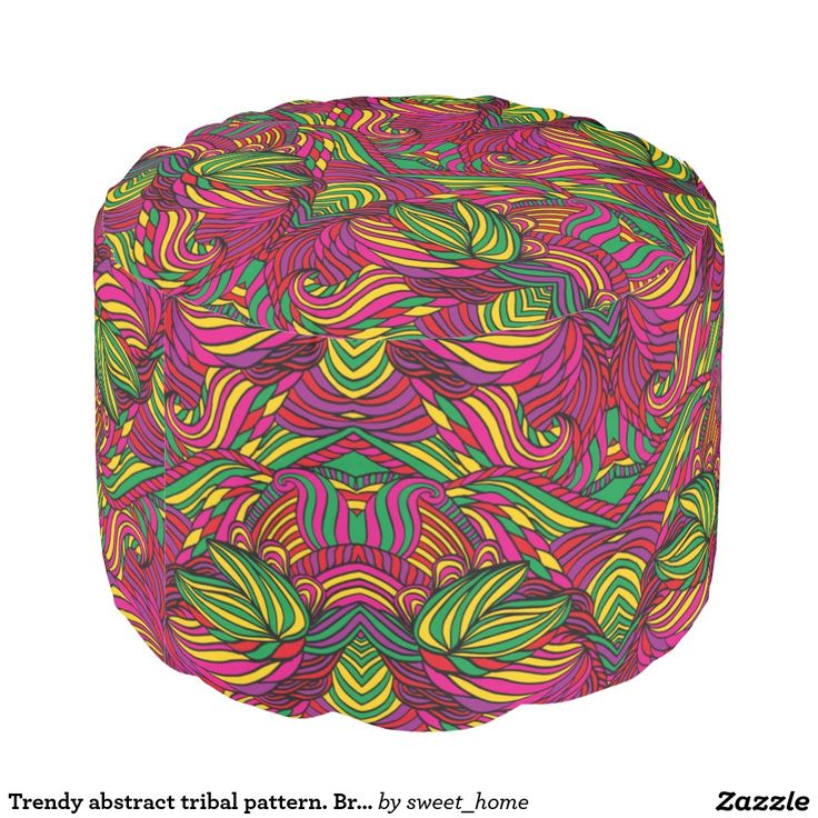 Trendy abstract tribal pattern. Brazil color. Pouf  For home design and decor. Beautiful home accessories ideas. Brazil bright style.