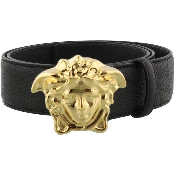 Belt (€242) ❤ liked on Polyvore featuring men's fashion, men's accessories, men's belts, black, versace mens belt, mens genuine leather belts, mens real leather belts, mens leather belts and mens leather accessories