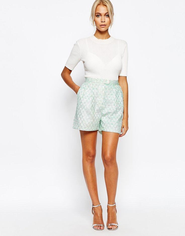 Image 1 ofFashion Union Boucle Tailored Shorts