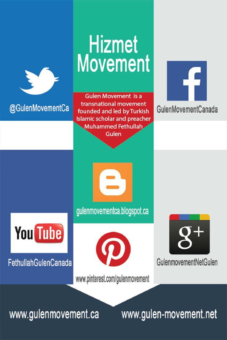 Gulen Movement on Social Media – Links  Facebook: http://gulenmovementca.blogspot.ca/ Twitter: https://twitter.com/GulenMovementCa YouTube: https://www.youtube.com/fethullahgulencanada Google +: https://plus.google.com/+GulenmovementNetGulen/ Pinterest: http://www.pinterest.com/gulenmovement/ Blogspot: http://gulenmovementca.blogspot.ca/  Gulen Movement (Hizmet) Fan Websites – Links  Gulen Movement Canada: www.gulenmovement.ca www.gulen-movement.net
