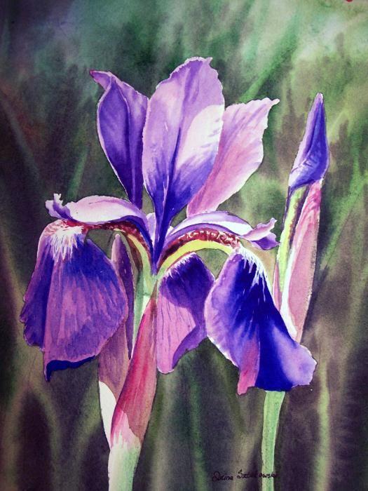 A Purple Purple Iris - just beautiful - http://fineartamerica.com/featured/2-iris-painting-irina-sztukowski.html