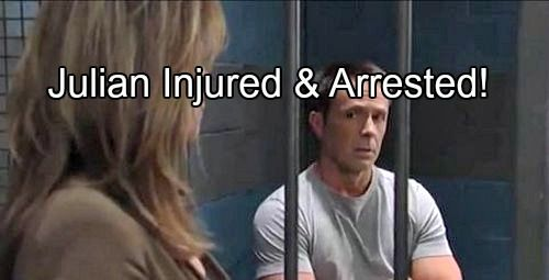 General Hospital (GH) spoilers tease that Julian Jerome (William deVry) is going down in a big way thanks to the betrayal of Alexis Davis (Nancy Grahn) and