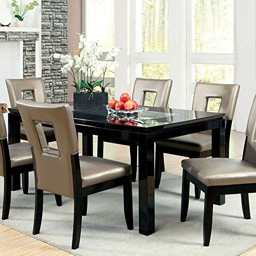 millen modern style gloss black lacqure finish 7 piece dining table set dining room. Black Bedroom Furniture Sets. Home Design Ideas
