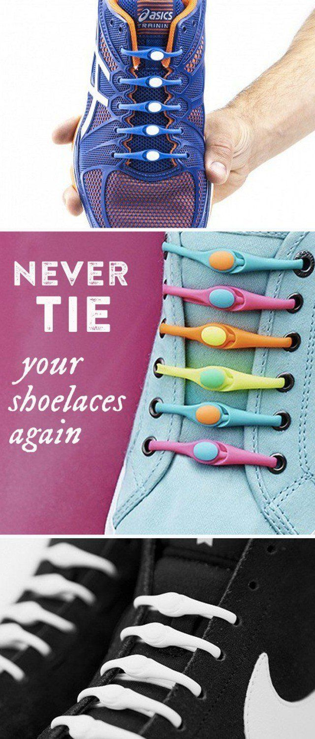 Never tie your shoes again. Ditch those old fashioned dangling shoelaces for colorful Hickies elastic laces.