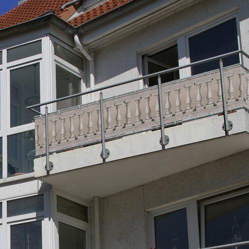 Balkonbespannung Sichtschutz 300 x 90 cm - Steinsäulen Motiv - wasserabweisend - JAROLIFT