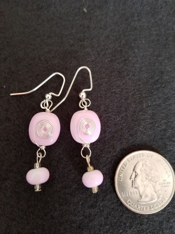 Spiral wire wrapped pink earrings by Ididitforme on Etsy