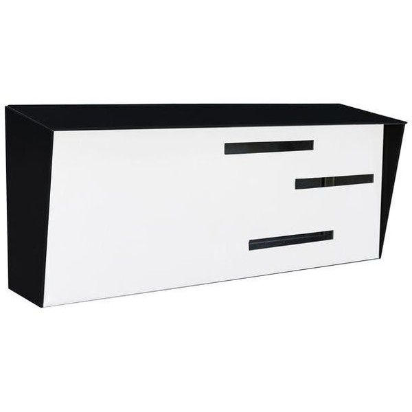 Modern Mailbox - Two Tone Black & White ($250) ❤ liked on Polyvore featuring home, outdoors, outdoor decor, boxes, modern garden decor, modern mailbox, handmade box, stainless steel mailbox and black and white boxes