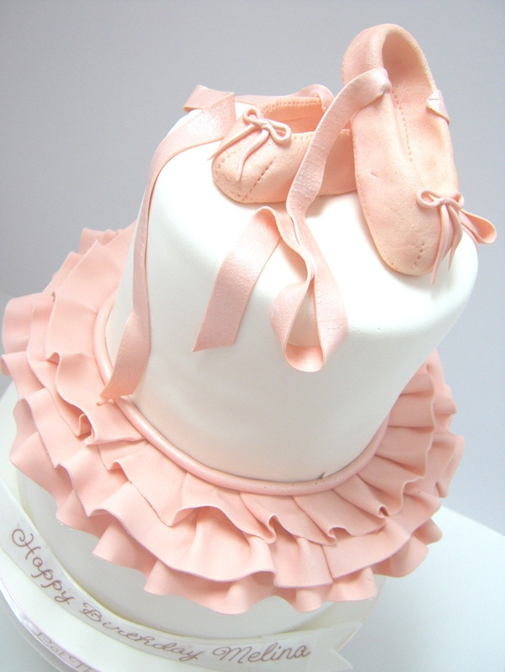 I did a cake much like this for Emily quite a few years back - - made ballet slippers out of fondant. Just used icing for the rest of the details. Would love to do this for Addy some day and do the fondant ruffles, much like this!