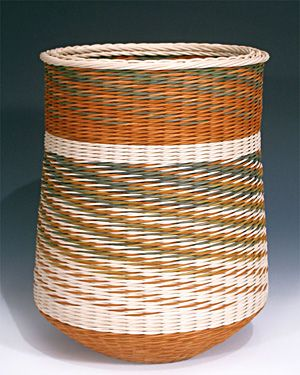 Leave On Water by Kari Lonning, artist dyed rattan reeds