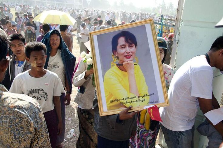 Rally for Aung San Suu Kyi in Pathein, 2012
