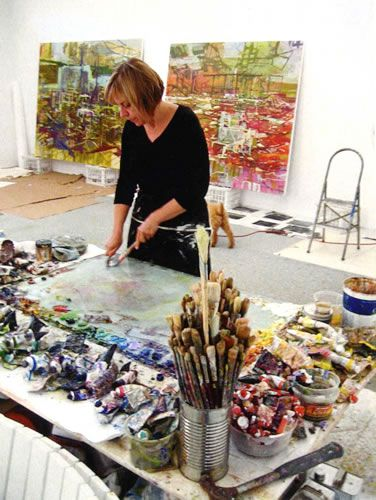 Marie Thibeault, painter, in her studio. Look at the giant palette. I'm so jealous.