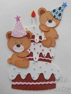 Ursinhos em eva para painel de aniversariantes.. Créditos dos moldes nas imagens