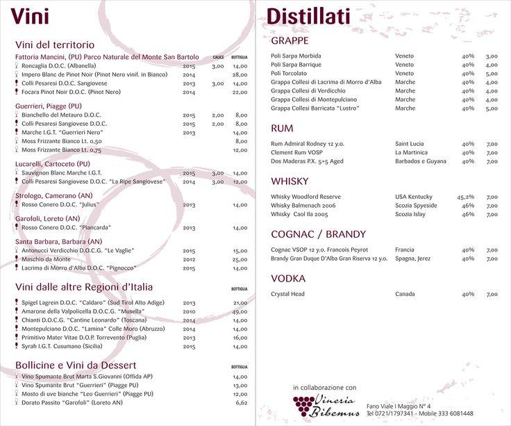 CARTA DEI VINI | carta dei vini la nostra carta dei vini