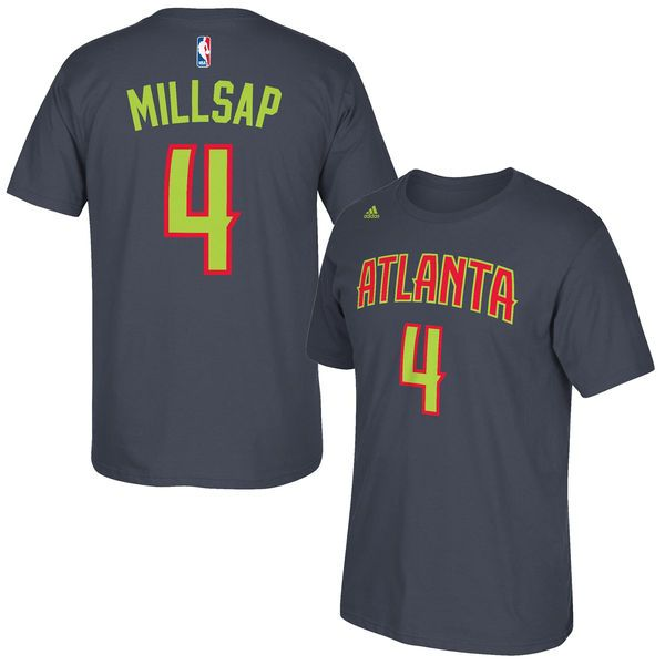 Paul Millsap Atlanta Hawks adidas Net Number T-Shirt - Gray - $22.39