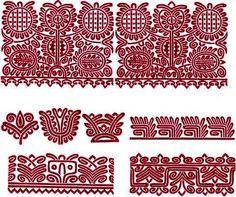 """Kalotaszegi \""""írásos\"""" varrotas minták -- Embroidery designs from Kalotaszeg."""