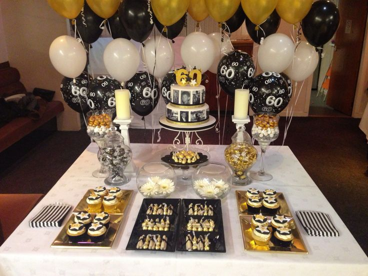 My 1st Dessert Table In Black White Amp Gold 70th