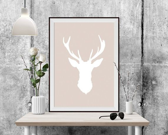 You are searching for the perfect modern decoration touch to any home or office ? This Printable Art is a contemporary downloadable print featuring a White Deer head on a Beige Background.