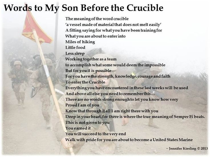 Words to my Son before the Crucible     United States Marine Corp