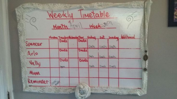 Up cycled net curtains, white board timetable.