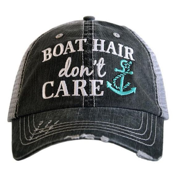 Hat { Boat hair don't care } Teal or pink anchor.
