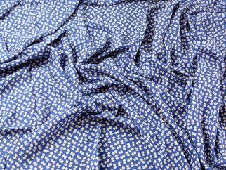 Tiny Floral Print Viscose Challis Dress Fabric  Blue | Fabric | Dress Fabrics | Minerva Crafts