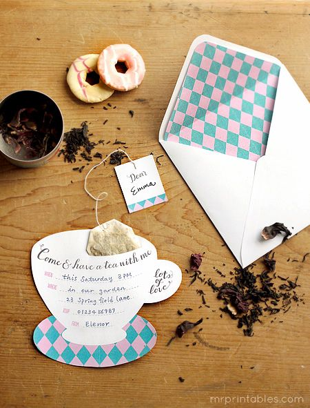 Free printable tea party invitations (Mr. Printables): A fun invitation for a tea / garden birthday party, teddy bear tea party, Alice in Wonderland theme, tea baby shower, or a get together with girlfriends