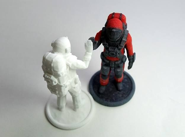 This is a white color Astronaut from Space Engineers game. Great for a hand paint project or for using as a desk toy. These are available in a white strong & flexible plastic at Shapeways. http://www.shapeways.com/product/EQ7PE5N7N/astronaut-from-space-engineers-game Full color version is available at: http://www.spaceengineersprints.com/collections/frontpage/products/space-engineers-print-astronaut  Which one do you like better?
