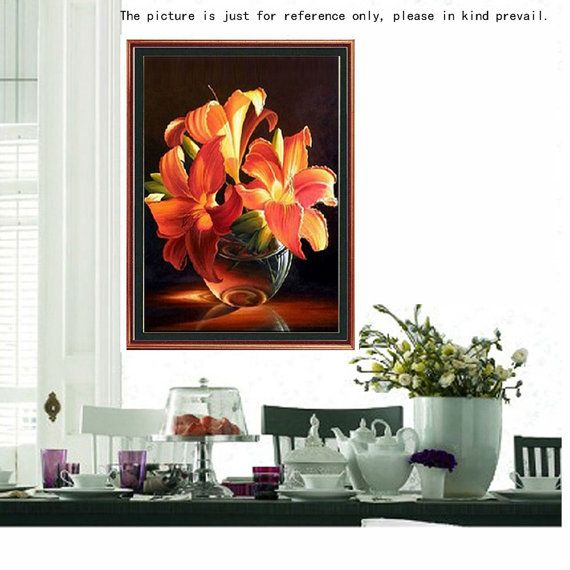 Golden Lily Resin Rhinestone Pasted Cross Stitch by crystallizz15