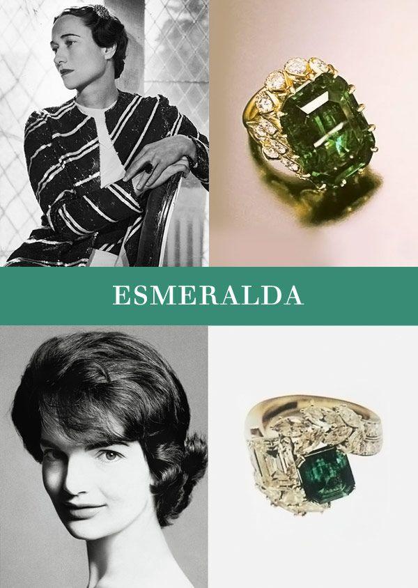 Anéis de noivado famosos -  O Príncipe Edward VIII abdicou do trono britânico para casar com Wallis Simpson, futura Duquesa de Windsor. O anel da Cartier de esmeralda que, em 1956, foi refeito ganhando ainda mais opulência com o uso do ouro amarelo cravejado de diamantes. Outro anel de noivado que ganhou uma nova versão foi o de Jacqueline Kennedy, feito pela Van Cleef & Arpels. Quando ganhou, ele tinha uma esmeralda de 2,84 quilates ao de um diamante de 2.88 quiltates e baguetes.