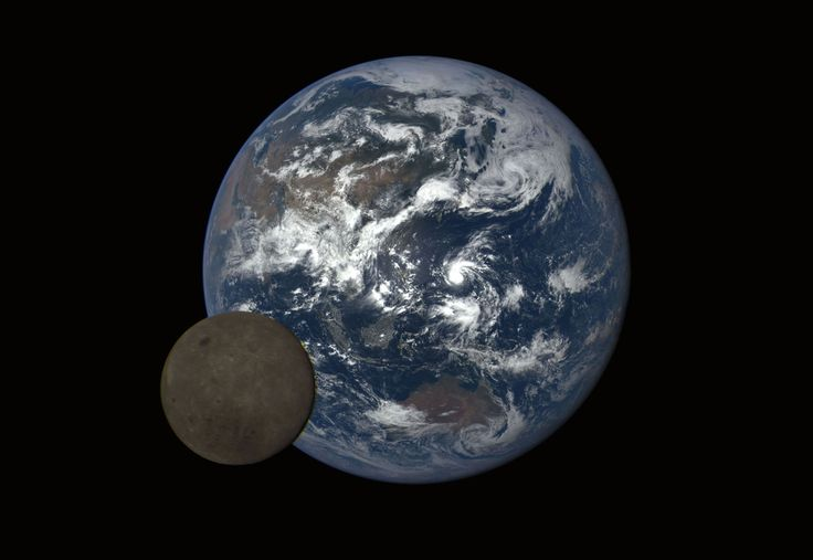 Earth and the far side of the moon on July 5, 2016, also featuring Typhoon Nepartak over the Pacific Ocean, imaged by NASA's Deep Space Climate Observatory (DSCOVR) satellite, about 1.5 million km (930,000 mi) from Earth,.