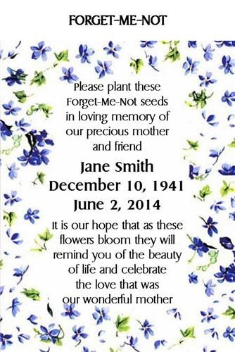 Memorial Keepsake Remembrance Funeral Seed Packets Forget me Not ...