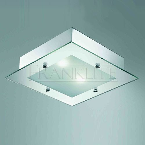 Shower Fan Light Chrome Square Bathroom Ceiling Light