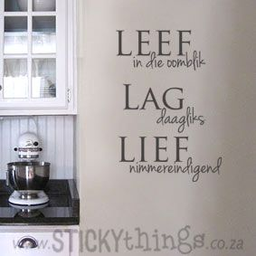 An apt quote for die lewe: Leef in die oomblik, Lag daagliks  Lief nimmereindigend. This muur plakker can used in your lounge, would look amazing in any kitchen or even in the passage, bathroon or bedroom! And: Get 2 owls in same colour choice for free!