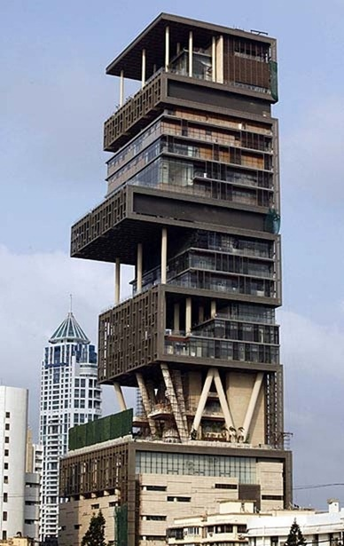 India's richest man, who is also the fourth richest in the world, Mukesh Ambani along with his wife and three children has recently moved into their new 1 billion mansion in Mumbai. The entire structure is 27 stories high, contains a health club with a gym and dance studio, at least one studio, a ballroom, guestrooms and a range of lounges and a 50 seat cinema. All of this for a family of five. Of course, there are 600 servants to pamper them.