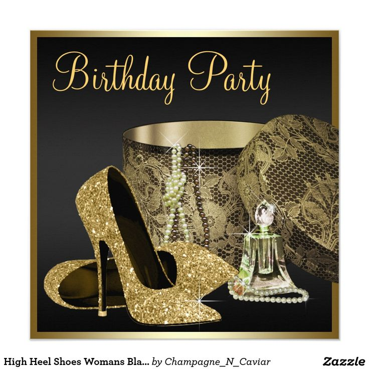 Best Womans Birthday Party Invitations Images On Pinterest - Red and gold birthday invitation templates