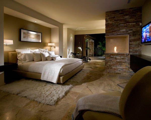 Travertine fireplace, Stone fireplace, Bedroom fireplace, Phil Kean Design Group, Interior design, Natural stone,  Read more on: http://italystonemarble.com/2014/12/16/camini-in-travertino-moderni/
