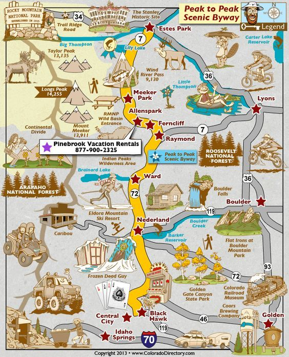 Peak to Peak Scenic Byway Map, Colorado Vacation Directory | colorado in 2019 | Pinterest | Colorado, Vacation and Road trip to colorado