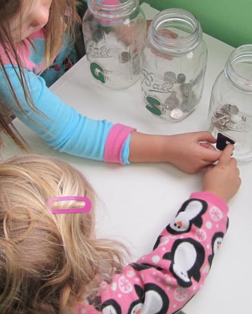 teaching kids about money/saving/tithing through money jars & kid chores