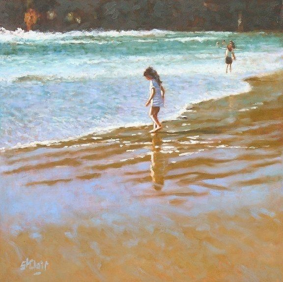 At The Beach by Vivienne St Clair on ArtClick.ie   Seascape