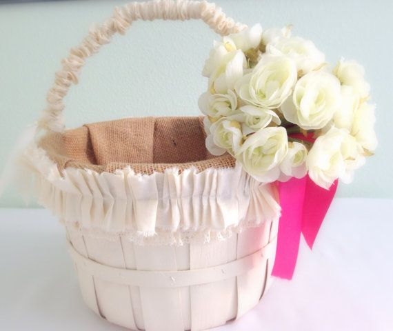 Basket, Wedding Shabby, Burlap, Flower Girl Cards Favors Bouquets Rustic, Accessory Reception  Country Cottage Chic MADE TO ORDER