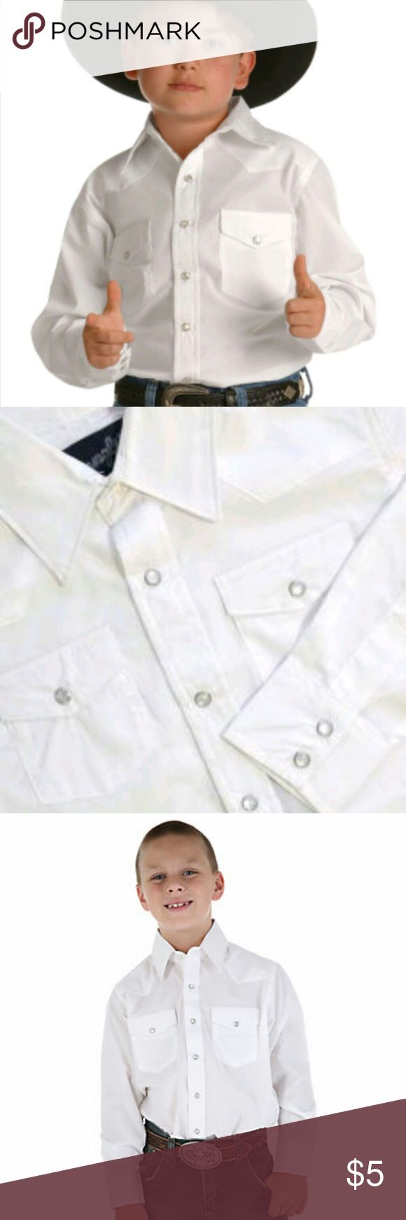 White Long Sleeved Snap Button Down Wrangler Shirt Size 2t Long Sleeved Collared Snap Buttons Down the front and on Sleeves White Wrangler Shirt Wrangler Shirts & Tops Button Down Shirts