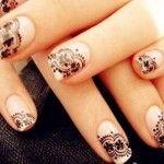 Nail art da sposa stile gotico con pizzo nero - Lei Trendy