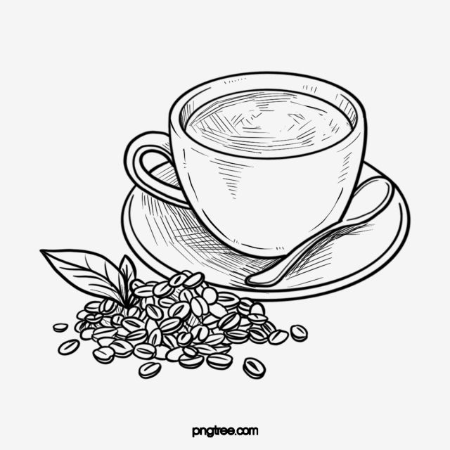 21++ Coffee cup clipart black and white info