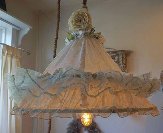 Boho gypsy canopy swag lighting antique netted hoop skirt reclaimed shabby cottage chic ceiling fixture gypsy & 784 best My Shop images on Pinterest | Cottage chic Shabby ... azcodes.com