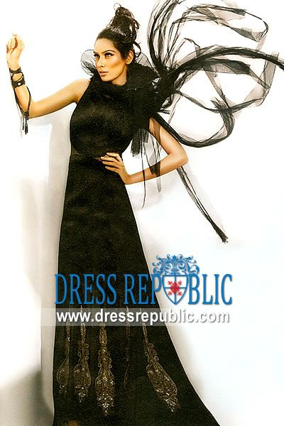 Jet Black Hawaii, Product code: DR8929, by www.dressrepublic.com - Keywords: Pakistani Boutiques at Saudi Arab, Latest Nomi Ansari Party Evening Gowns Styles Online