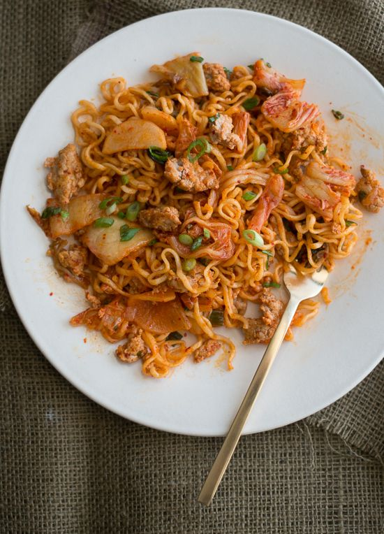 Pork Noodle Stir Fry Recipe with Spicy Kimchi | White on Rice Couple
